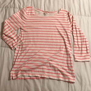J. Crew 3/4 Sleeve Pink & White Striped Top
